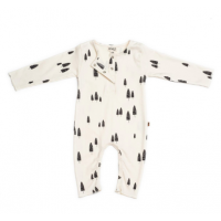 Organic Henley playsuit - Forest