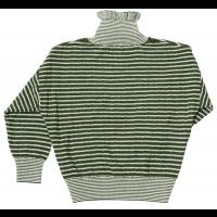 Strikket genser grønn/hvit striper