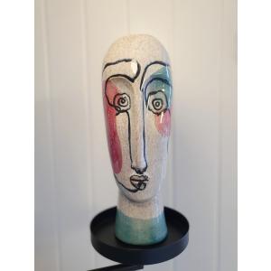 Ansiktsskulptur Beige