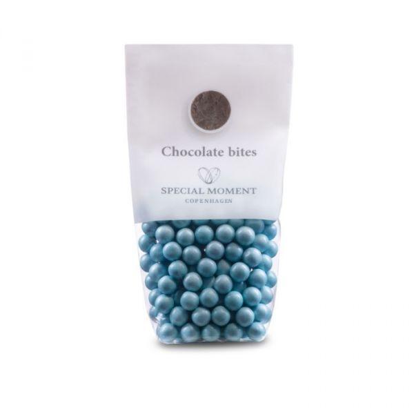 Sjokolade kuler - Lyseblå pearlecent 130g