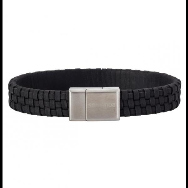 SON bracelet black calf leather - 12mm