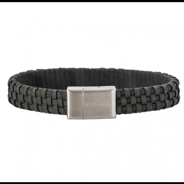 SON bracelet grey calf leather - 12mm
