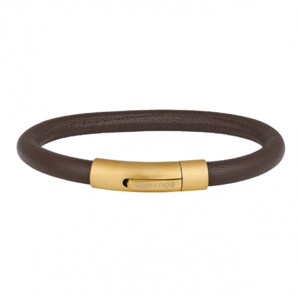 Silver/Gold SON bracelet brown calf leather - 6mm