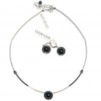 COEUR DE LION - Black & Silver halskjede + ørepynt