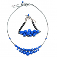 COEUR DE LION - Blue boble halskjede + Armbånd