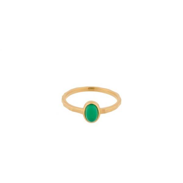 Shine ring grønn chalcedony