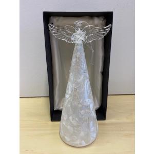 Glassengel frostet m/bling og lys