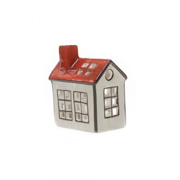 Hus For Lys Grå/Rød 10Cm