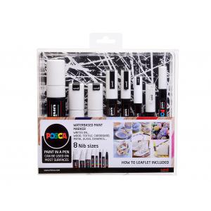 Uni POSCA 8 Nib Size – All White – Sett 8stk
