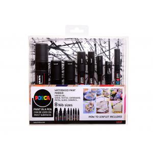 Uni POSCA 8 Nib Size – All Black – Sett 8stk