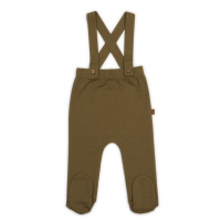 Organic footed suspender pants - Spice
