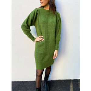 Linna Knit Dress O-Neck - Twist Of Lime