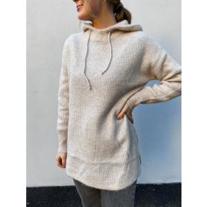 Lulu knit hoodie - birch/melang