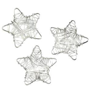Stjerner 3 stk. metall sølv