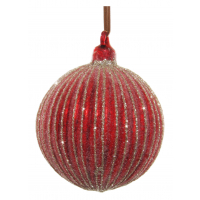 Glass ball lined antique red sugar