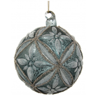 Glass floral ball blue iced silver