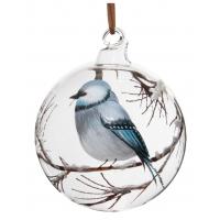 Glass ball clear painted bird