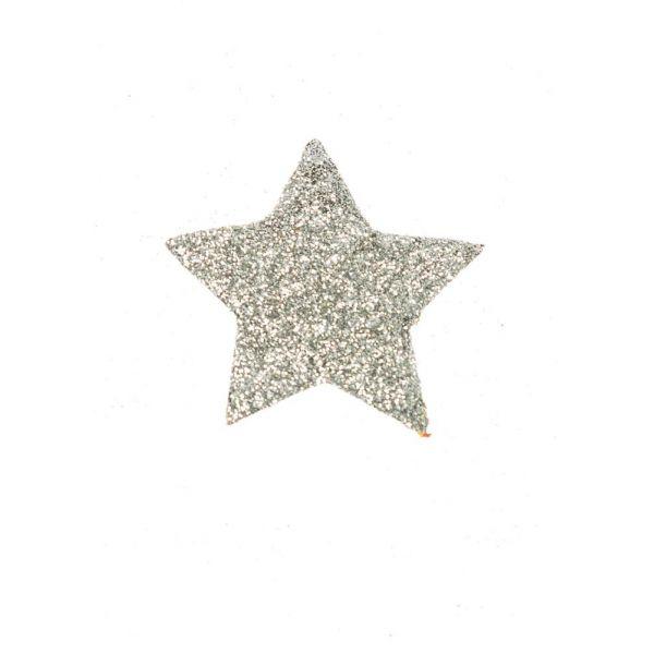 Papirstjerne 5cm sølv/glitter