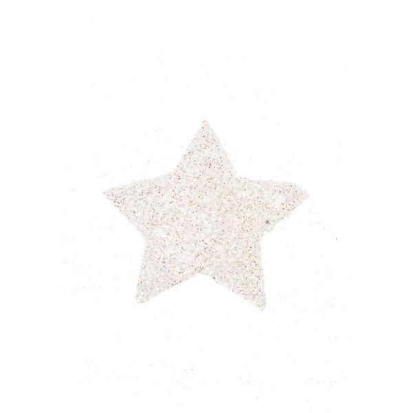 Papirstjerne 5cm hvit/glitter