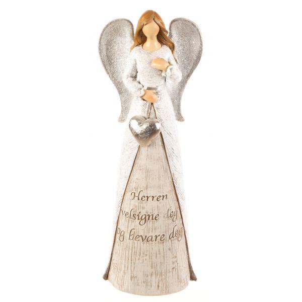 Engel hvit m/hjerte Herren velsigne