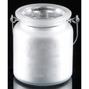 Telysglass m/hank hvitt Vi står i stj…
