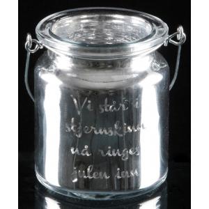 Telysglass m/hank sølv Vi står i stj….