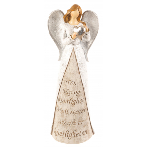 Engel hvit m/hjerte Tro,Håp,Kjærlig
