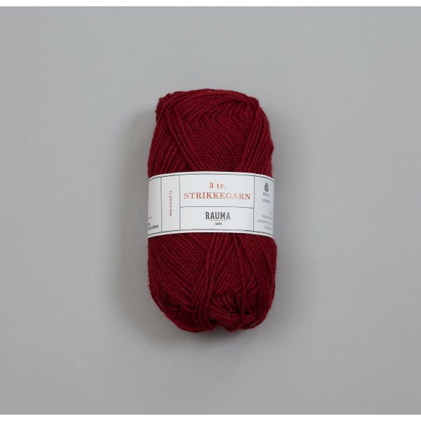 Rauma 3-tråds strikkegarn - 128 Vinrød