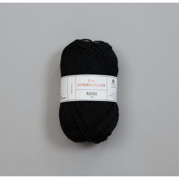 Rauma 3-tråds strikkegarn - 136 Sort