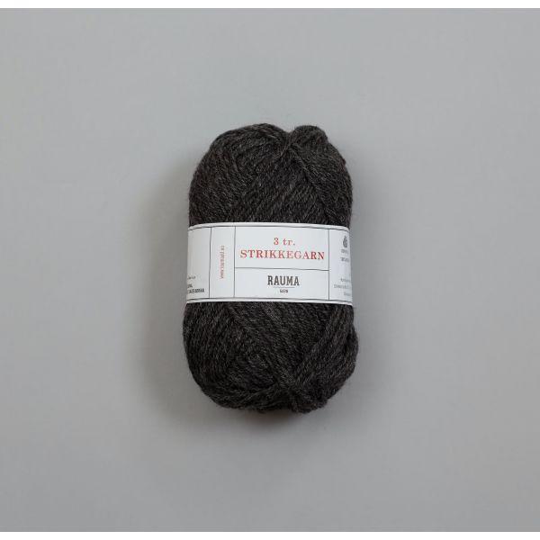 Rauma 3-tråds strikkegarn - 114 Koksgrå Melert