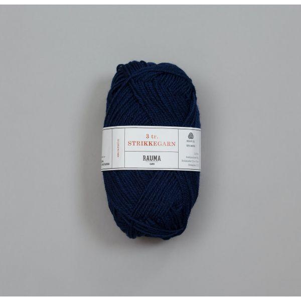 Rauma 3-tråds strikkegarn - 149 Mørk Blå