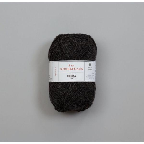 Rauma 3-tråds strikkegarn - 107 Mørk Koks Melert
