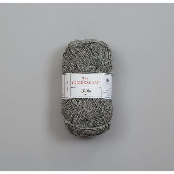 Rauma 3-tråds strikkegarn - 113 Kald Grå Melert