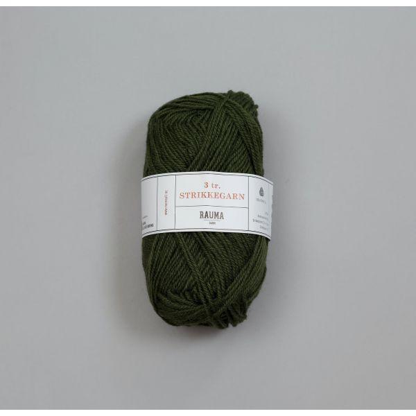 Rauma 3-tråds strikkegarn - 1561 Mørk Mosegrønn