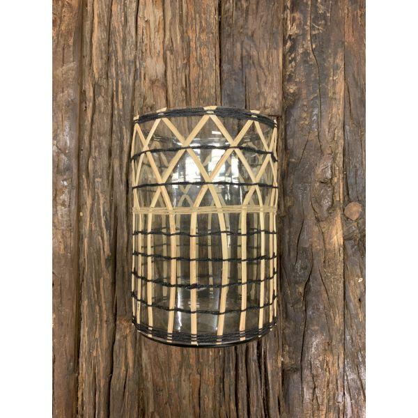 Glasslykt med flettet bambus liten