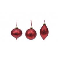 Julekule rød glitter
