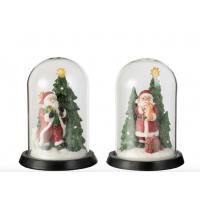Glassklokke med julenisse og juletre m/ led lys