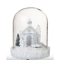 Stor glassklokke med kirke og kor (og lys)