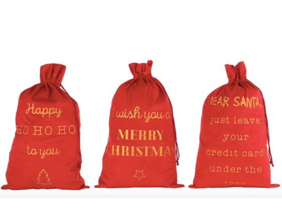 Røde velourpose med gullskrift, stor