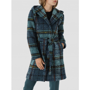 Soft check wool hooded coat