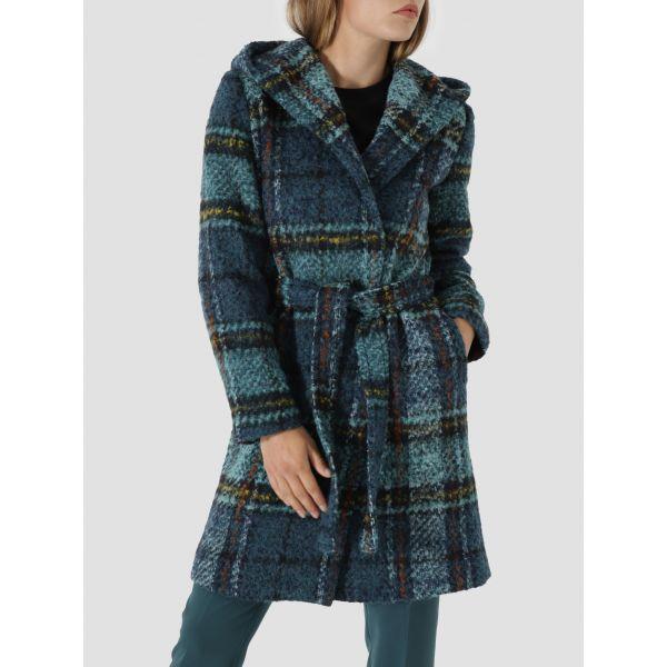 Soft check wool hooded coat