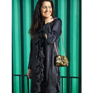 Ruffle Kimono, Rich Black Satin