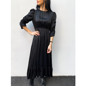 Satin Ruching Midi Dress - Black
