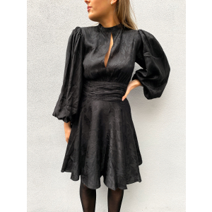 Jacquard Gathers Dress - Black