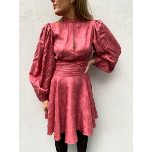 Jacquard Gathers Dress - Rose