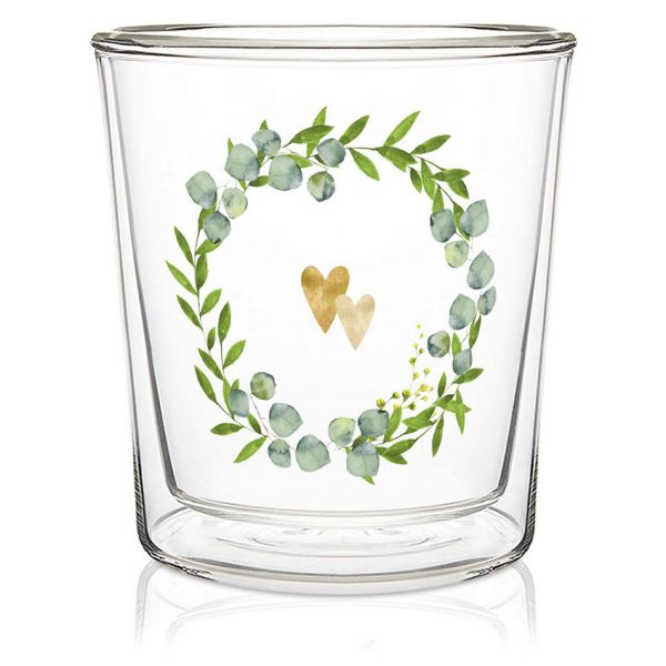 Dobbeltvegget glass Two Hearts