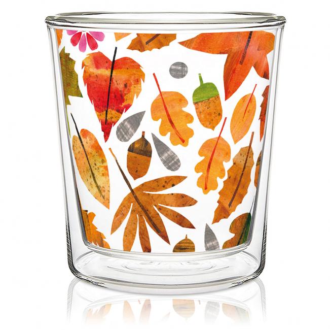 Dobbeltvegget glass Autumn Leaves
