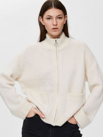 Sia cardigan med glidelås offwhite