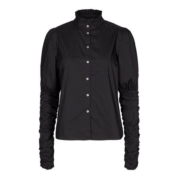 Sandy Poplin Puff Shirt - Black