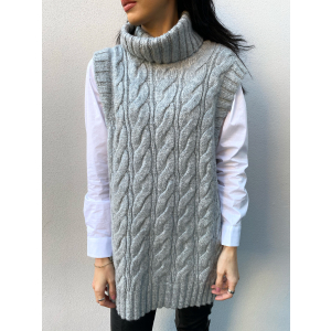 Canna Knit Vest - Light Grey Melange